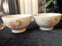 2 X FOOTED CEREAL SOUP RICE BOWLS GOOD SIZE WITH FLORAL DECORATION GREAT COND